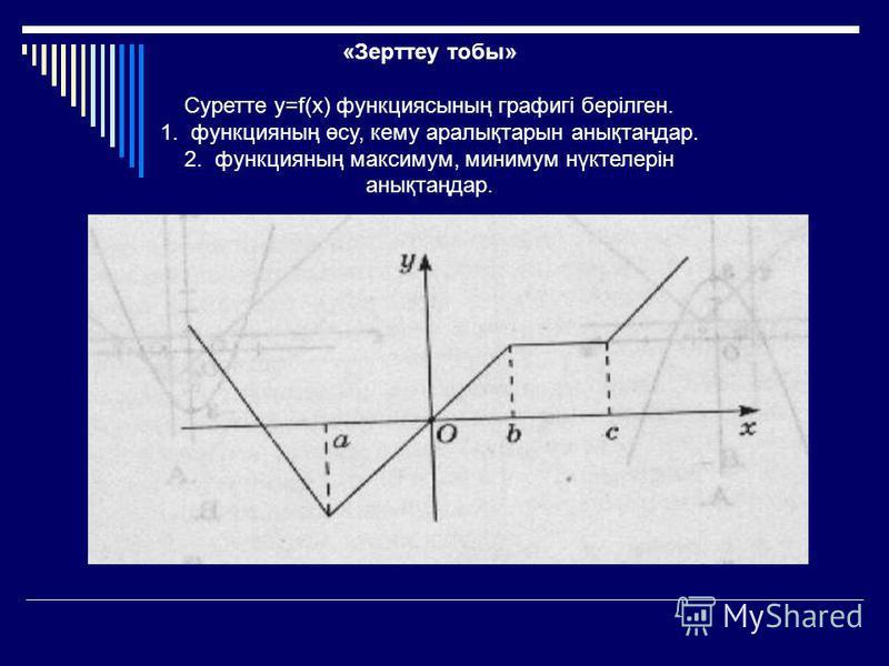 «Зерттеу тобы» Суретте y=f(x) функциясының графигі берілген. 1. функцияның өсу, кему аралықтарын анықтаңдар. 2. функцияның максимум, минимум нүктелерін анықтаңдар.