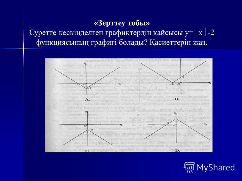 «Зерттеу тобы» Суретте кескінделген графиктердің қайсысы y= x -2 функциясының графигі болады? Қасиеттерін жаз.