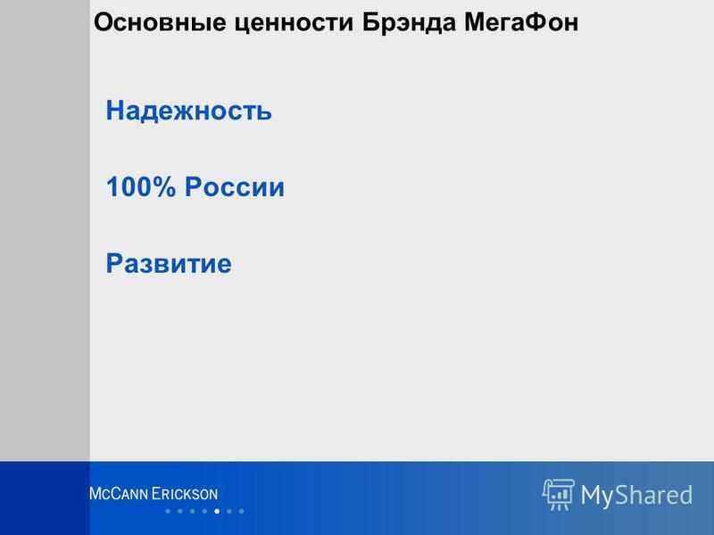 Основные ценности Брэнда Мега Фон Надежность 100% России Развитие