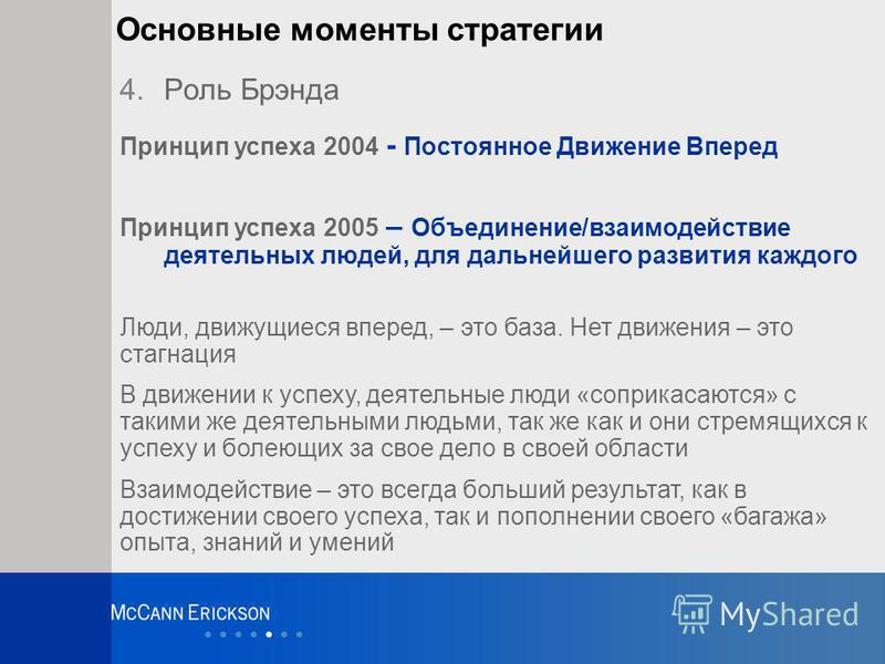 Основные моменты стратегии 4. Роль Брэнда Принцип успеха 2004 - Постоянное Движение Вперед Принцип успеха 2005 – Объединение/взаимодействие деятельных людей, для дальнейшего развития каждого Люди, движущиеся вперед, – это база. Нет движения – это ста