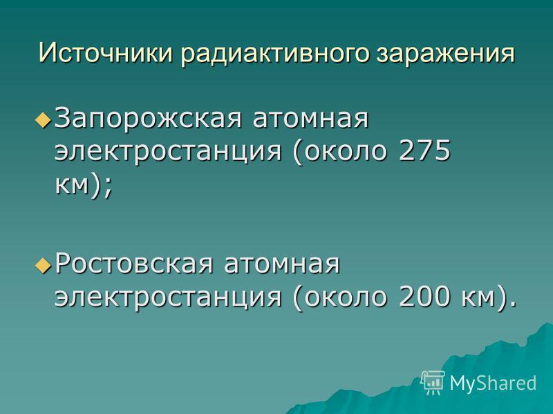 Источники радиоактивного заражения Запорожская атомная электростанция (около 275 км); Запорожская атомная электростанция (около 275 км); Ростовская атомная электростанция (около 200 км). Ростовская атомная электростанция (около 200 км).