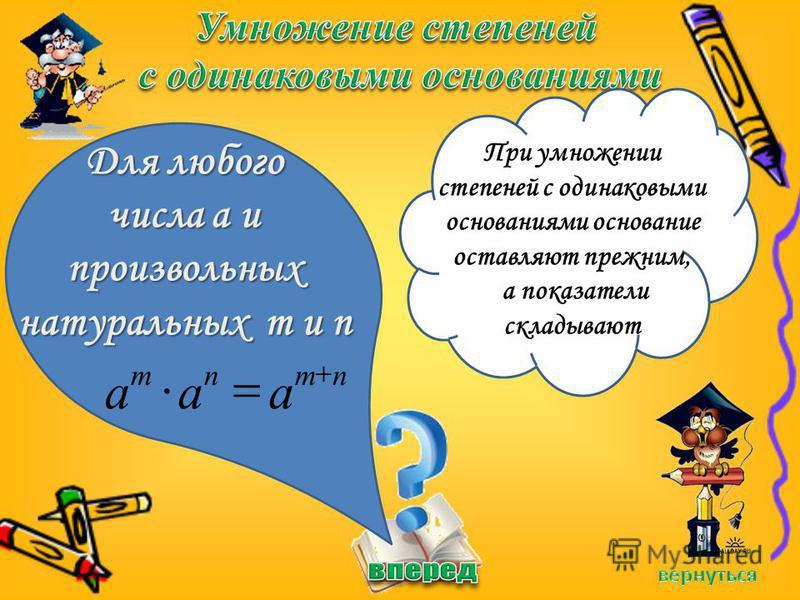 Для любого числа a и произвольных натуральных m и n При умножении степеней с одинаковыми основаниями основание оставляют прежним, а показатели складывают nmnm aaa