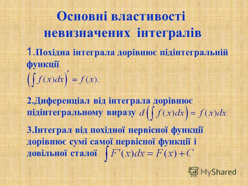 Основні властивості невизначених інтегралів 1. Похідна інтеграла дорівнює підінтегральній функції 2.Диференціал від інтеграла дорівнює підінтегральному виразу 3.Інтеграл від похідної первісної функції дорівнює сумі самої первісної функції і довільної