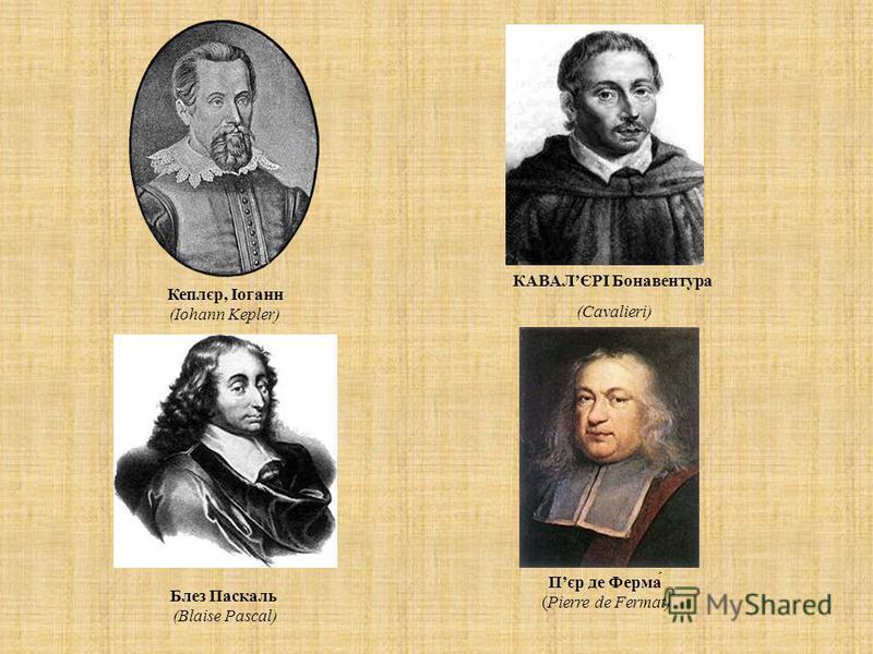 Кеплєр, Іоганн (Iohann Kepler) КАВАЛЄРІ Бонавентура (Cavalieri) Пєр де Ферма́ (Pierre de Fermat) Блез Паскаль (Blaise Pascal)