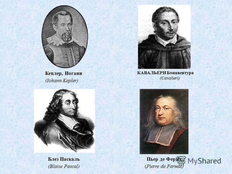 КАВАЛЬЕРИ Бонавентура (Cavalieri) Кеплер, Иоганн (Iohann Kepler) Пьер де Ферма́ (Pierre de Fermat) Блез Паскаль (Blaise Pascal)