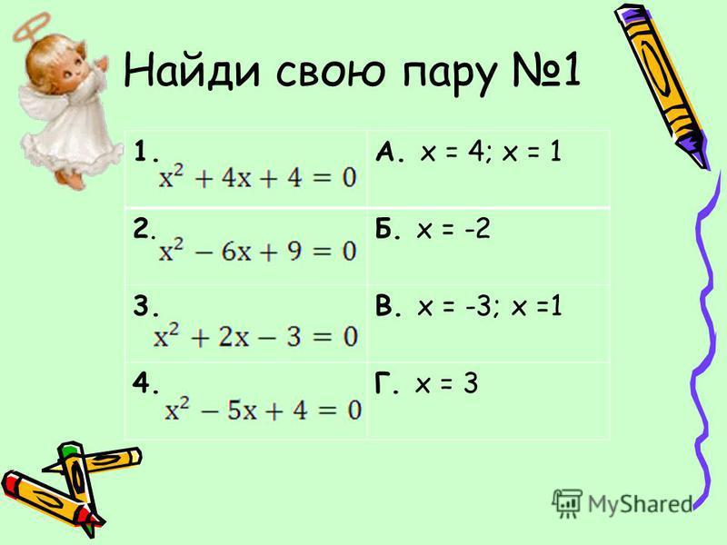 Найди свою пару 1 1.А. х = 4; х = 1 2.2.Б. х = -2 3.В. х = -3; х =1 4.Г. х = 3