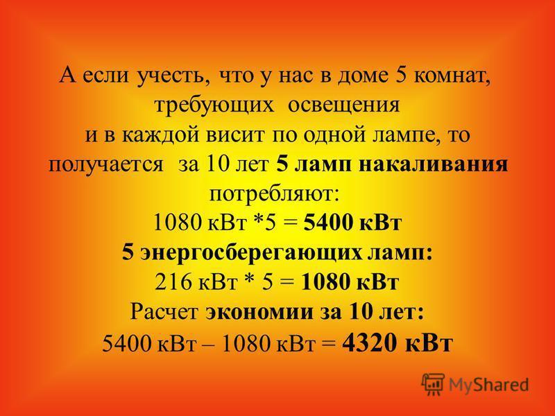 А если учесть, что у нас в доме 5 комнат, требующих освещения и в каждой висит по одной лампе, то получается за 10 лет 5 ламп накаливания потребляют: 1080 к Вт *5 = 5400 к Вт 5 энергосберегающих ламп: 216 к Вт * 5 = 1080 к Вт Расчет экономии за 10 ле