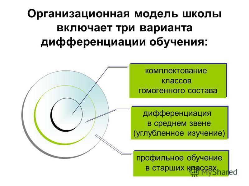Организационная модель школы включает три варианта дифференциации обучения: комплектование классов гомогенного состава дифференциация в среднем звене (углубленное изучение) профильное обучение в старших классах