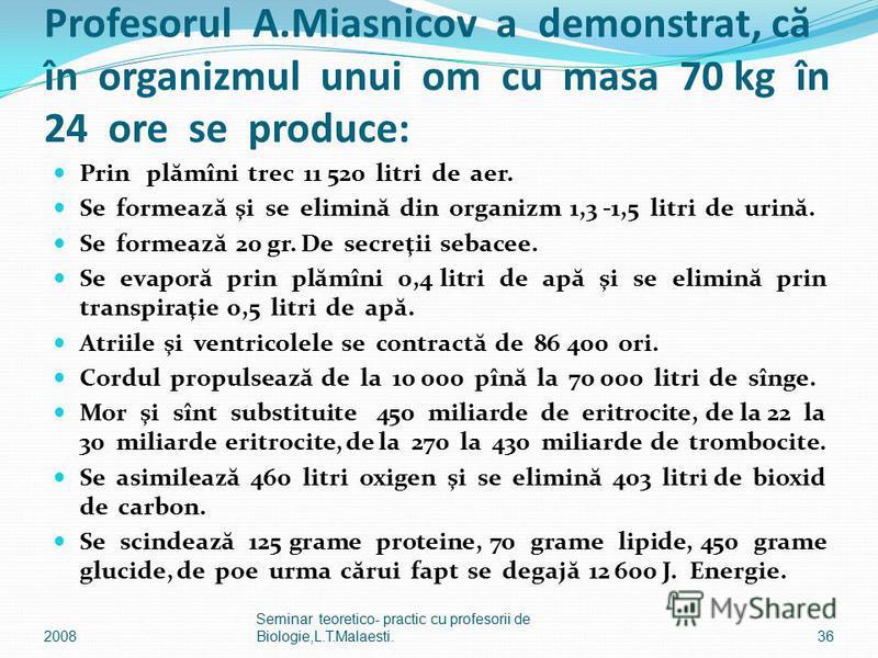 Profesorul A.Miasnicov a demonstrat, c ă în organizmul unui om cu masa 70 kg în 24 ore se produce: Prin pl ă mîni trec 11 520 litri de aer. Se formeaz ă şi se elimin ă din organizm 1,3 -1,5 litri de urin ă. Se formeaz ă 20 gr. De secreţii sebacee. Se