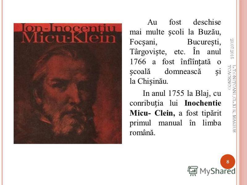 Gheorghe Ghica înfiineaz ă Academia Înv ăă turilor i Epistemiilor. Centrre de studii erau academiile domneti de la m ă n ă stirea Sf. Sava i cea din Iai (deschise în 1695 i 1714). La sfîritul secolului al XVII-lea se reorganizeaz ă Universitatea de l