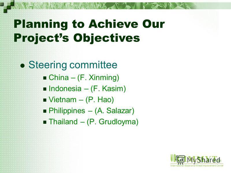 C I M M Y T MR International Maize and Wheat Improvement Center Steering committee China – (F. Xinming) Indonesia – (F. Kasim) Vietnam – (P. Hao) Philippines – (A. Salazar) Thailand – (P. Grudloyma) Planning to Achieve Our Projects Objectives
