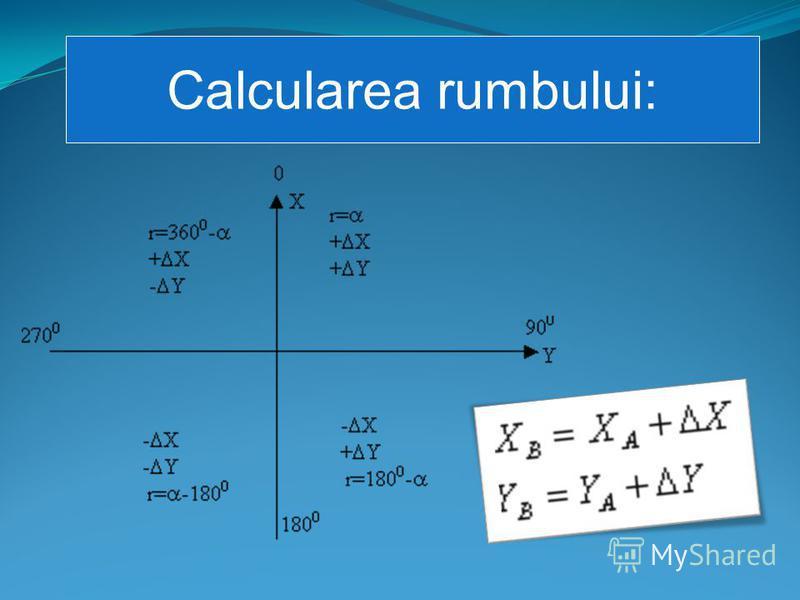 Calcularea rumbului: