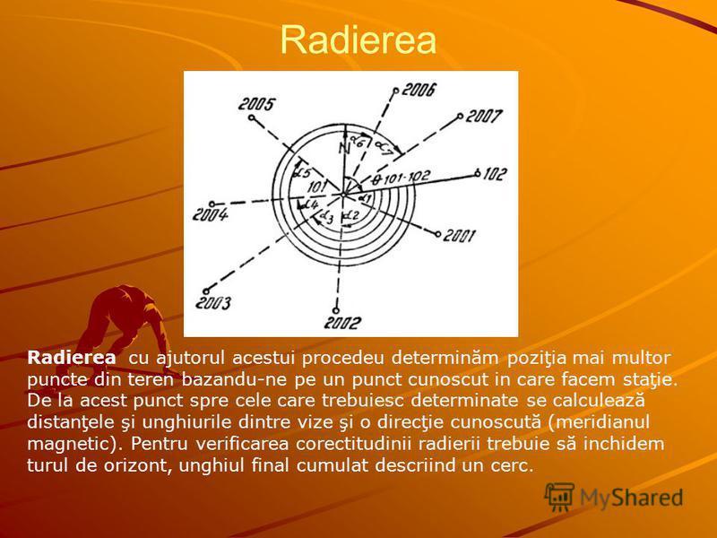 Radierea Radierea cu ajutorul acestui procedeu determinăm poziţia mai multor puncte din teren bazandu-ne pe un punct cunoscut in care facem staţie. De la acest punct spre cele care trebuiesc determinate se calculează distanţele şi unghiurile dintre v