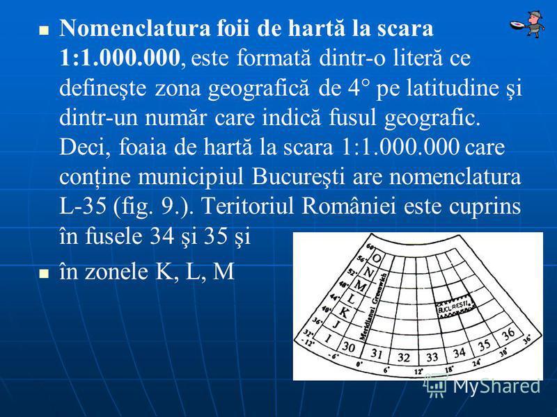 Nomenclatura foii de hartă la scara 1:1.000.000, este formată dintr-o literă ce defineşte zona geografică de 4° pe latitudine şi dintr-un număr care indică fusul geografic. Deci, foaia de hartă la scara 1:1.000.000 care conţine municipiul Bucureşti a