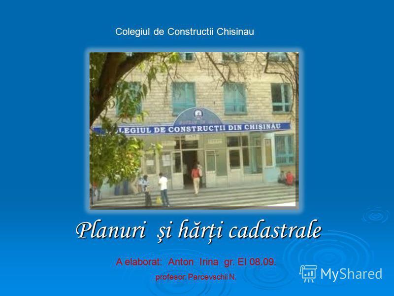 Planuri şi hărţi cadastrale A elaborat: Anton Irina gr. EI 08.09. profesor: Parcevschii N. Colegiul de Constructii Chisinau