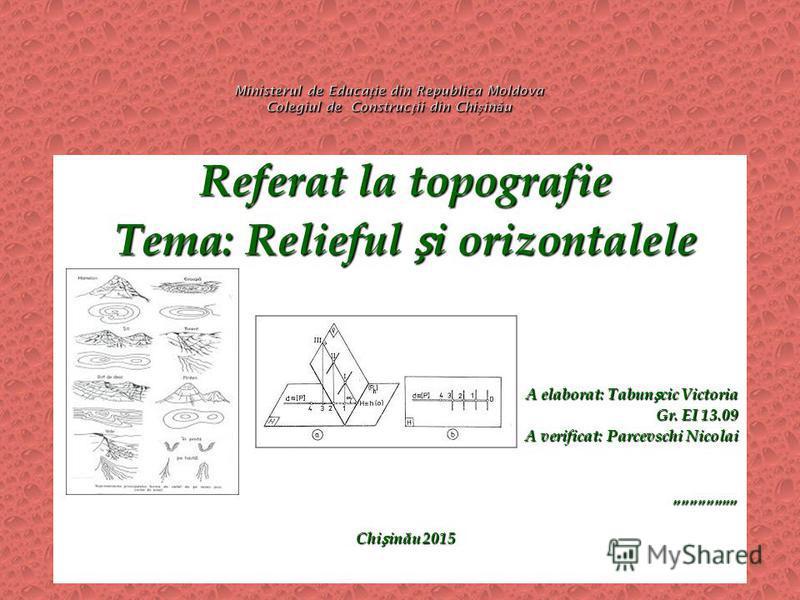 Referat la topografie Tema: Relieful i orizontalele A elaborat: Tabuncic Victoria Gr. EI 13.09 A verificat: Parcevschi Nicolai Chiin ă u 2015