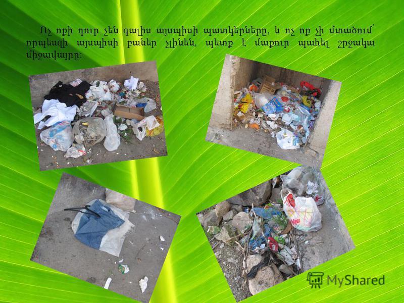 Ոչ ոքի դուր չեն գալիս այսպիսի պատկերները, և ոչ ոք չի մտածում՝ որպեսզի այսպիսի բաներ չլինեն, պետք է մաքուր պահել շրջակա միջավայրը: