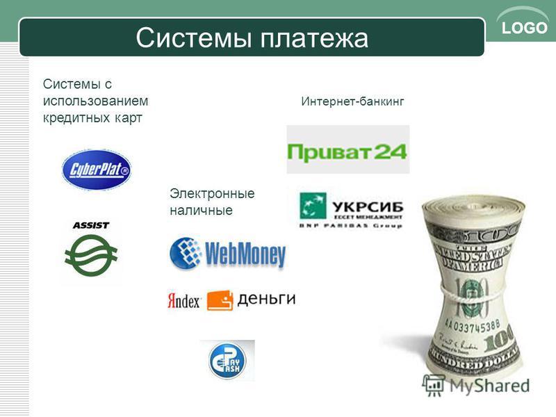 LOGO Системы платежа 14 Системы с использованием кредитных карт Электронные наличные Интернет-банкинг