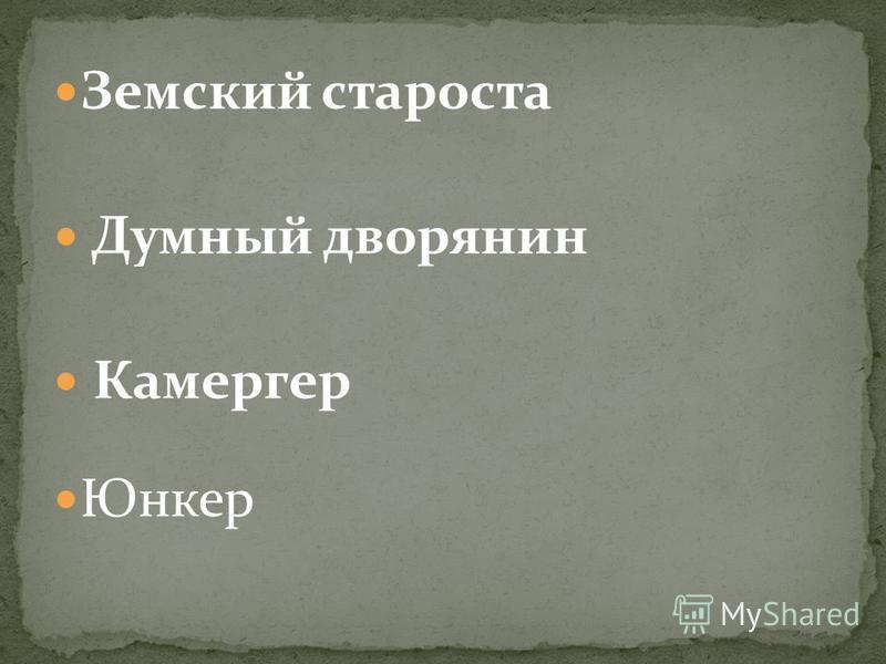 Земский староста Думный дворянин Камергер Юнкер