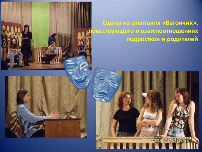 Сцены из спектакля «Вагончик», повествующего о взаимоотношениях подростков и родителей