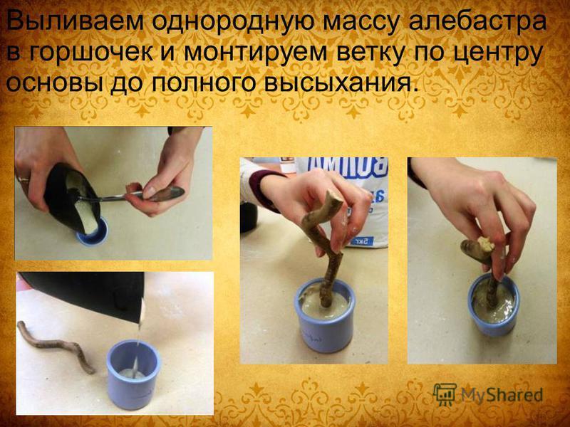 Выливаем однородную массу алебастра в горшочек и монтируем ветку по центру основы до полного высыхания.
