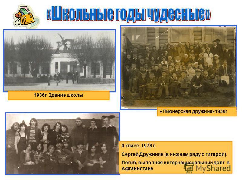 «Пионерская дружина»1936 г 1936 г. Здание школы 9 класс. 1978 г. Сергей Дружинин (в нижнем ряду с гитарой). Погиб, выполняя интернациональный долг в Афганистане