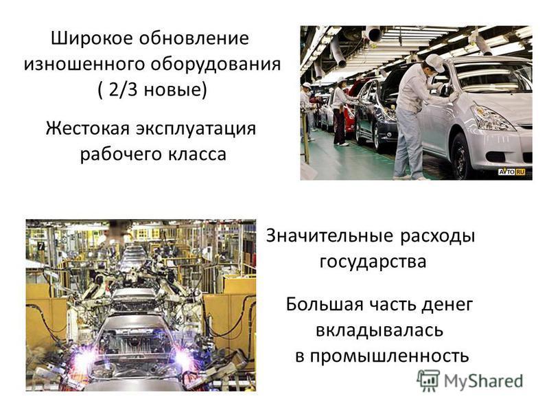 Широкое обновление изношенного оборудования ( 2/3 новые) Жестокая эксплуатация рабочего класса Значительные расходы государства Большая часть денег вкладывалась в промышленность