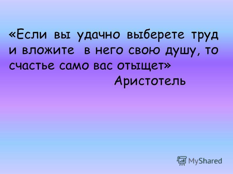 «Если вы удачно выберете труд и вложите в него свою душу, то счастье само вас отыщет» Аристотель
