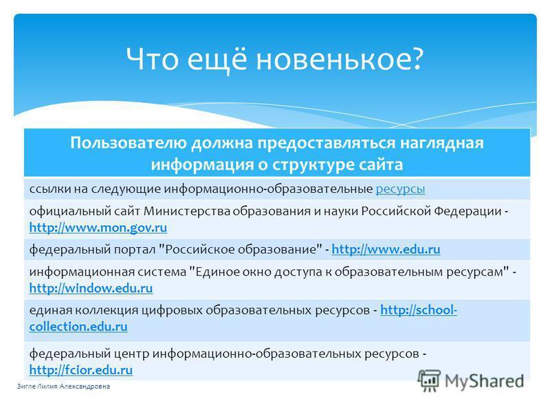 Пользователю должна предоставляться наглядная информация о структуре сайта ссылки на следующие информационно-образовательные ресурсы официальный сайт Министерства образования и науки Российской Федерации - http://www.mon.gov.ru http://www.mon.gov.ru