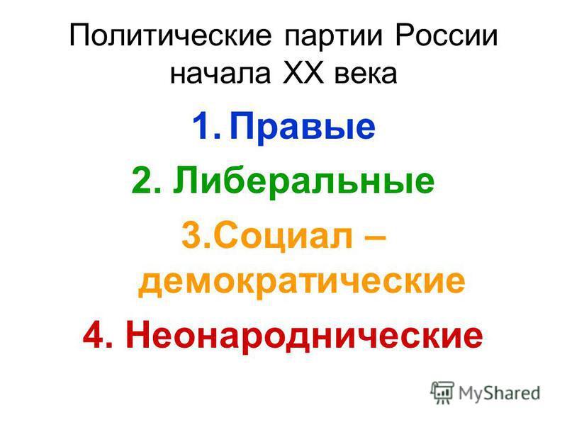 Политические партии России начала XX века 1. Правые 2. Либеральные 3. Социал – демократические 4. Неонароднические