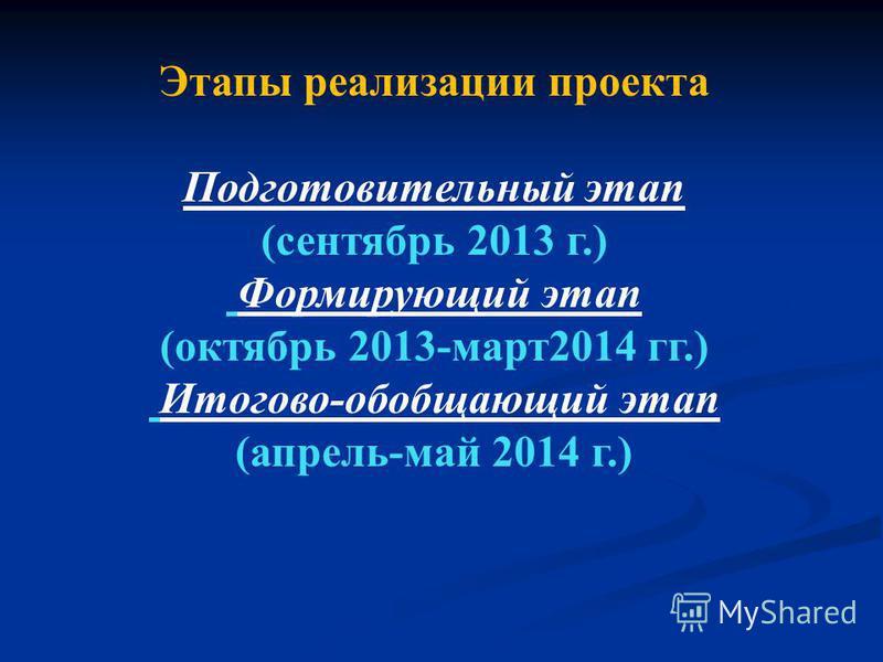 Этапы реализации проекта Подготовительный этап (сентябрь 2013 г.) Формирующий этап (октябрь 2013-март 2014 гг.) Итогово-обобщающий этап (апрель-май 2014 г.)