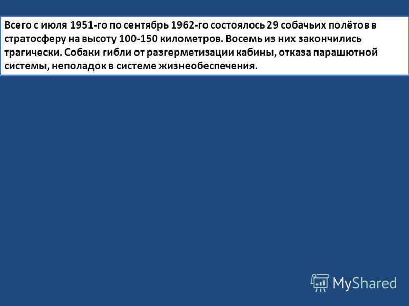 Всего с июля 1951-го по сентябрь 1962-го состоялось 29 собачьих полётов в стратосферу на высоту 100-150 километров. Восемь из них закончились трагически. Собаки гибли от разгерметизации кабины, отказа парашютной системы, неполадок в системе жизнеобес