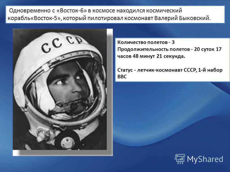 Одновременно с «Восток-6» в космосе находился космический корабль«Восток-5», который пилотировал космонавт Валерий Быковский. Количество полетов - 3 Продолжительность полетов - 20 суток 17 часов 48 минут 21 секунда. Статус - летчик-космонавт СССР, 1-