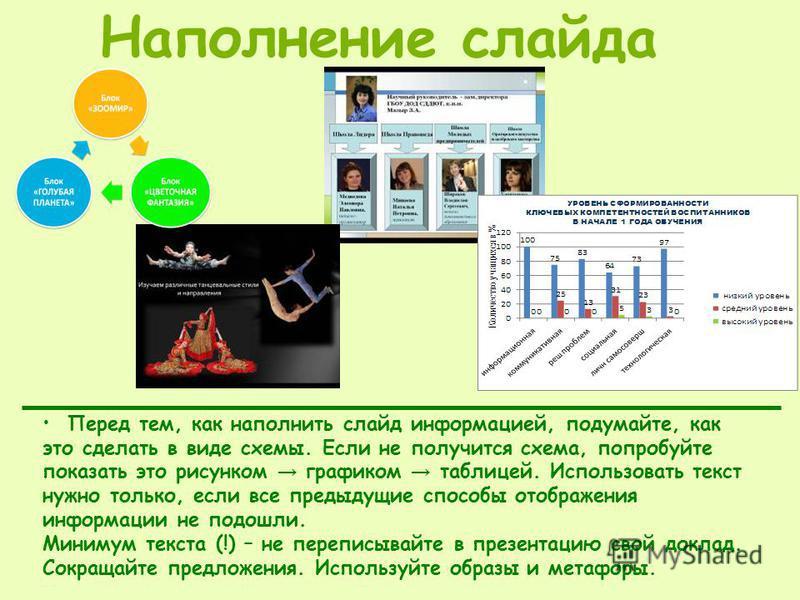 Перед тем, как наполнить слайд информацией, подумайте, как это сделать в виде схемы. Если не получится схема, попробуйте показать это рисунком графиком таблицей. Использовать текст нужно только, если все предыдущие способы отображения информации не п