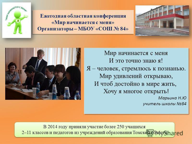Ежегодная областная конференция «Мир начинается с меня» Организаторы – МБОУ «СОШ 84» В 2014 году приняли участие более 250 учащихся 2–11 классов и педагогов из учреждений образования Томской области. В 2014 году приняли участие более 250 учащихся 2–1