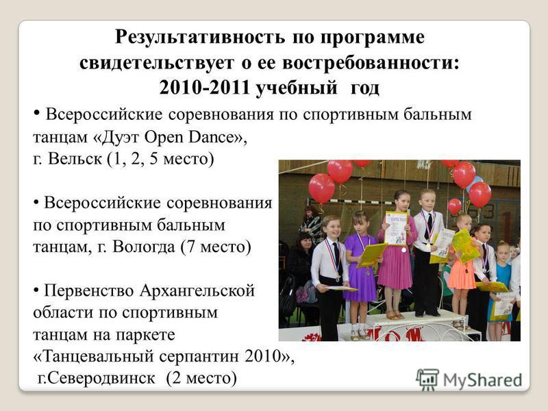 Результативность по программе свидетельствует о ее востребованности: 2010-2011 учебный год Всероссийские соревнования по спортивным бальным танцам «Дуэт Open Dance», г. Вельск (1, 2, 5 место) Всероссийские соревнования по спортивным бальным танцам, г