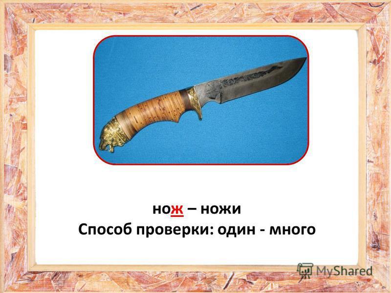 нож – ножи Способ проверки: один - много