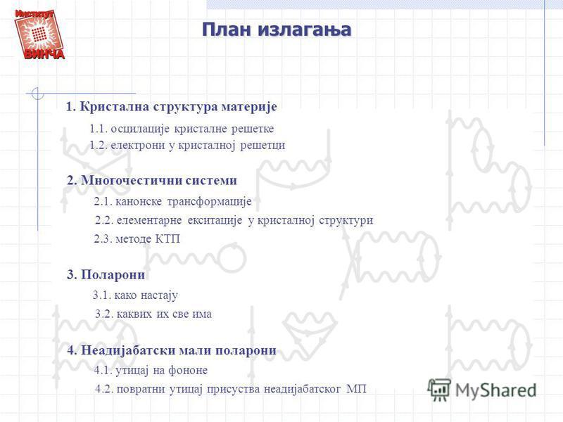 План излагања 1. Кристална структура материје 2. Многочестични системи 3. Поларони 1.1. осцилације кристалне решетке 1.2. електрони у кристалној решетци 2.1. канонске трансформације 2.3. методе КТП 2.2. елементарне екситације у кристалној структури 3