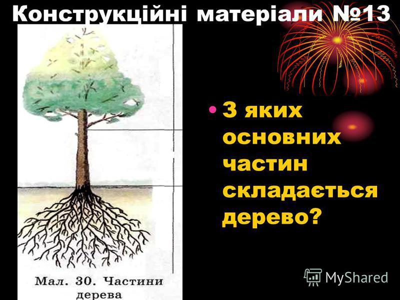 Конструкційні матеріали 13 З яких основних частин складається дерево?