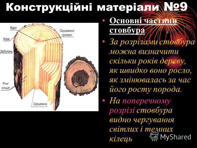 Конструкційні матеріали 9 Основні частини стовбура За розрізами стовбура можна визначити скільки років дереву, як швидко воно росло, як змінювалась за час його росту порода. На поперечному розрізі стовбура видно чергування світлих і темних кілець