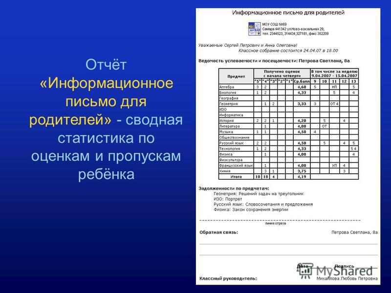 Отчёт «Информационное письмо для родителей» - сводная статистика по оценкам и пропускам ребёнка