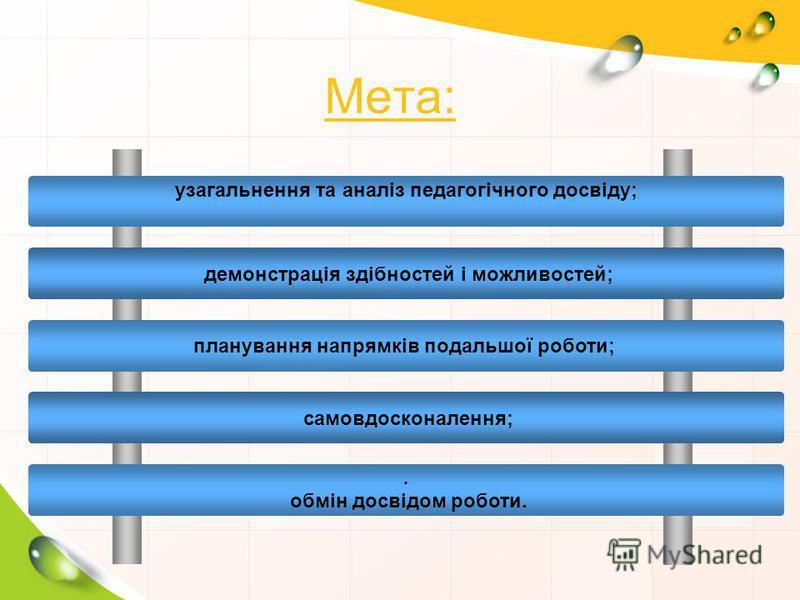 Мета: узагальнення та аналіз педагогічного досвіду; демонстрація здібностей і можливостей; планування напрямків подальшої роботи; самовдосконалення;. обмін досвідом роботи.