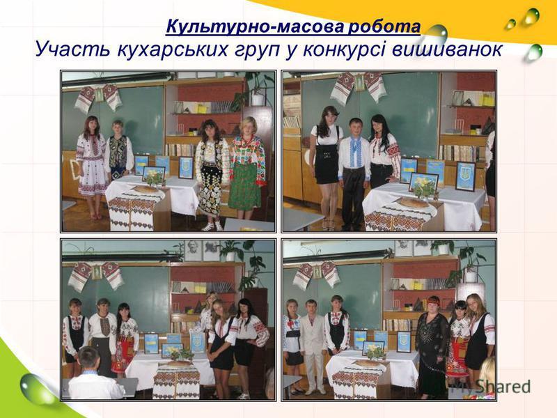 Участь кухарських груп у конкурсі вишиванок Культурно-масова робота