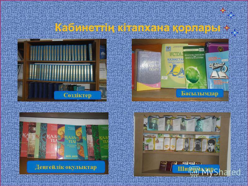 Сөздіктер Басылымдар Деңгейлік оқулықтар Шиырмалар Кабинеттің кітапхана қорлары