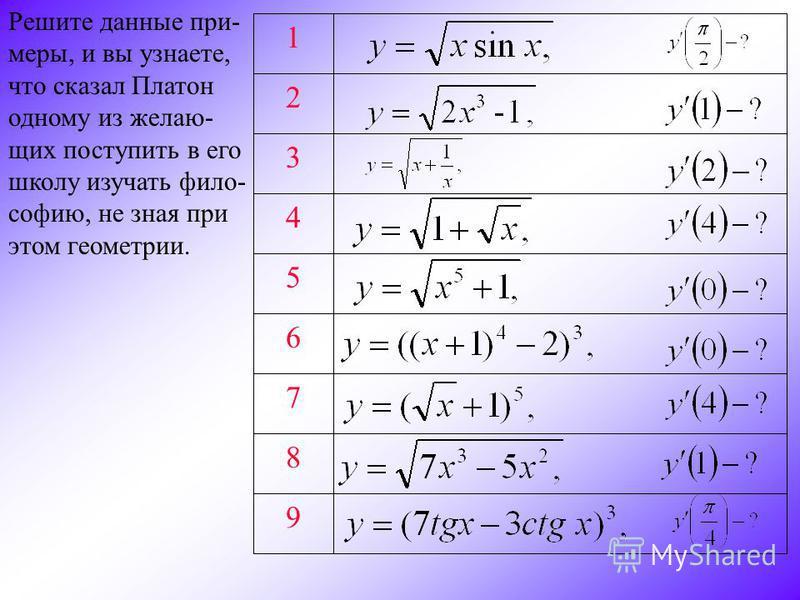 9 8 7 6 5 4 3 2 1 Решите данные при- меры, и вы узнаете, что сказал Платон одному из желающих поступить в его школу изучать философию, не зная при этом геометрии.