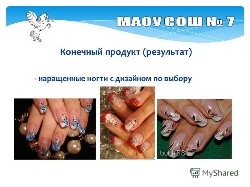 Конечный продукт (результат) - наращенные ногти с дизайном по выбору