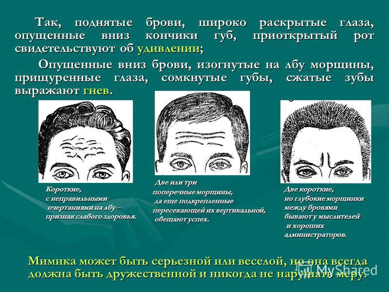 Так, поднятые брови, широко раскрытые глаза, опущенные вниз кончики губ, приоткрытый рот свидетельствуют об удивлении; Опущенные вниз брови, изогнутые на лбу морщины, прищуренные глаза, сомкнутые губы, сжатые зубы выражают гнев. Мимика может быть сер