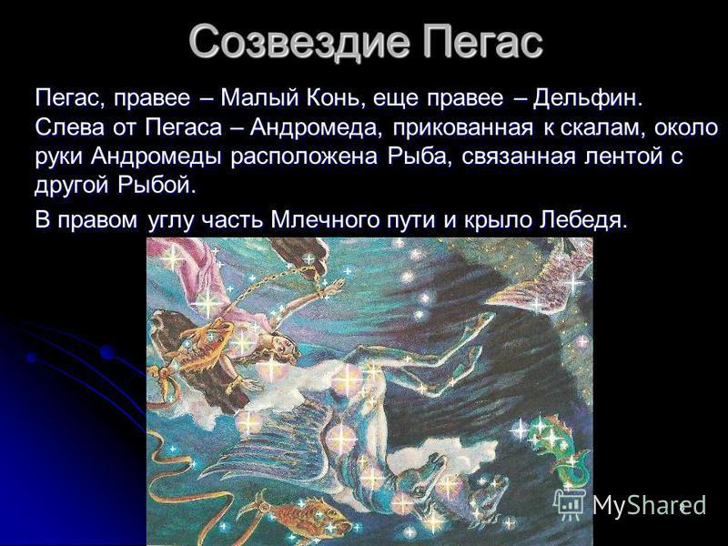 8 Созвездие Пегас Пегас, правее – Малый Конь, еще правее – Дельфин. Слева от Пегаса – Андромеда, прикованная к скалам, около руки Андромеды расположена Рыба, связанная лентой с другой Рыбой. В правом углу часть Млечного пути и крыло Лебедя.