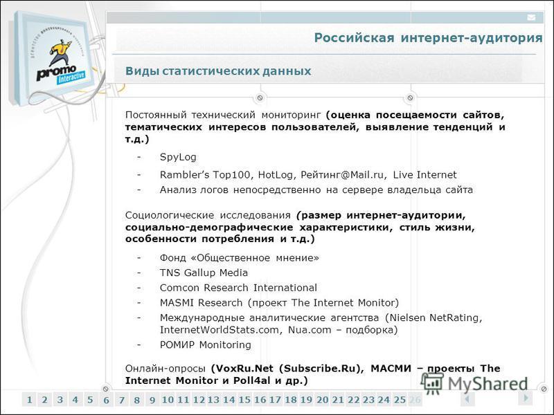 Российская интернет-аудитория 12345 6 7 89 1011121314151617181920212223242526 Постоянный технический мониторинг (оценка посещаемости сайтов, тематических интересов пользователей, выявление тенденций и т.д.) -SpyLog -Ramblers Top100, HotLog, Рейтинг@M