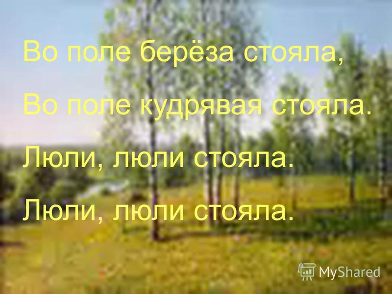 Во поле берёза стояла, Во поле кудрявая стояла. Люли, люли стояла.